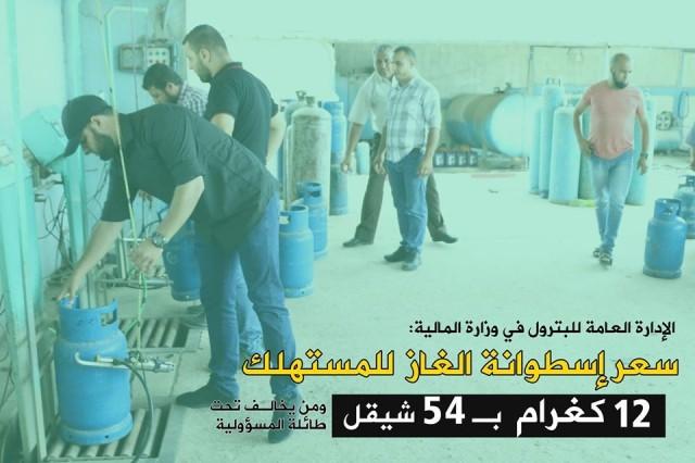 المالية تعلن تسعيرة إسطوانة الغاز للمستهلك بغزة