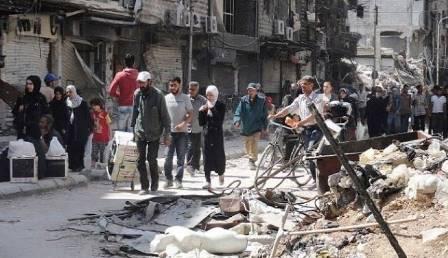 روسيا تقدم مساعدات إنسانية للاجئين الفلسطينيين في مخيم اليرموك