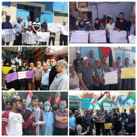 اعتصامات للمهجرين الفلسطينيين بلبنان أمام الأونروا للمطالبة بالمساعدة الشهرية