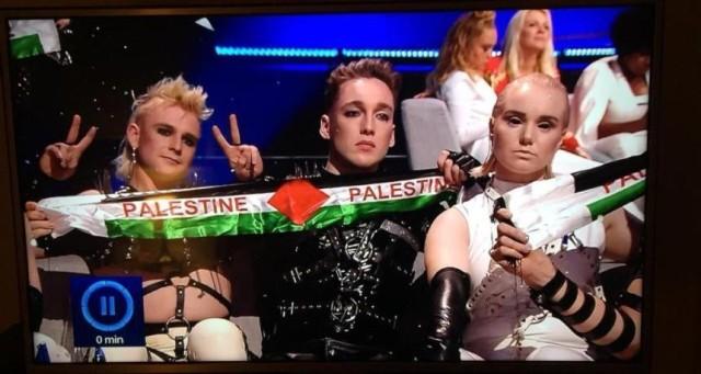 فيديو : علم فلسطين حضر في الحفل الختامي ليوروفيجن  في تل أبيب